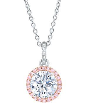 CRISLU Crislu Fiore Halo Pendant Necklace, 16 in Silver/Pink