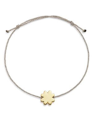 SUEL 14K YELLOW GOLD FOUR LEAF CLOVER CORD BRACELET