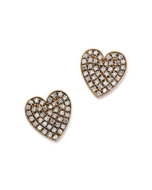 SUEL Blackened 18K Rose Gold Heart Diamond Earrings in White/Rose