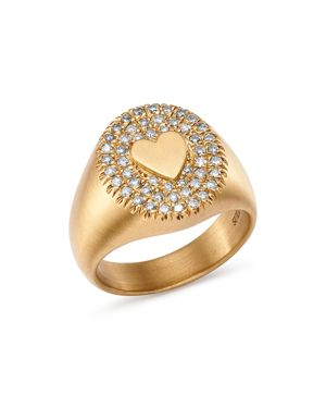 SUEL 18K YELLOW GOLD DIAMOND HEART SIGNET RING
