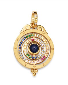 Temple St. Clair - 18K Yellow Gold Tolomeo Three Ring Multicolor Sapphire & Diamond Pendant
