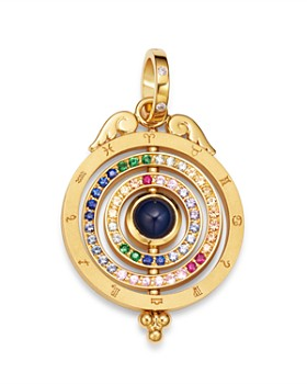 Temple St. Clair - 18K Yellow Gold Tolomeo Three Ring Multicolor Sapphire & Diamond Pendant