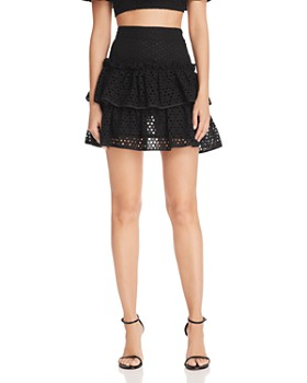 MILLY - Tiered Lace Mini Skirt