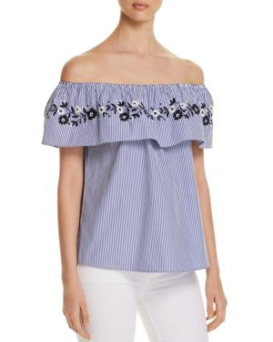 ALISON ANDREWS EMBROIDERED PINSTRIPE OFF-THE-SHOULDER TOP