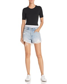 alexanderwang.t - Bite Mix Layered-Look Denim Shorts in Bleach