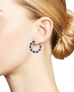 Bloomingdale's - Blue Sapphire & Diamond Hoop Front Earrings in 14K White Gold - 100% Exclusive