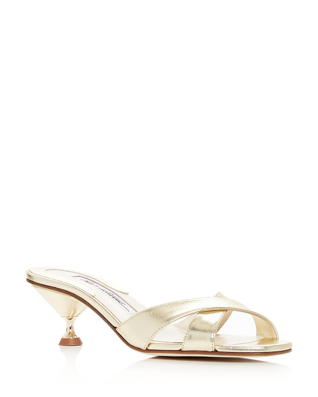 BRIAN ATWOOD Women's Cinzia Leather Kitten Heel Slide Sandals xMtzj