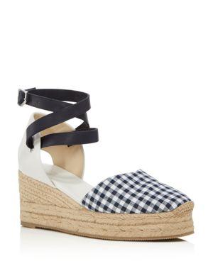 Kea Gingham & Leather Espadrille Sandals, Navy Gingham