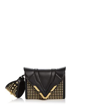 Angel Small Punky Convertible Leather Wristlet, Black/Gold