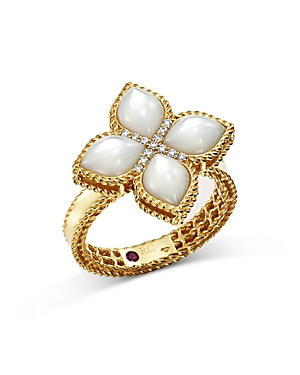 Roberto Coin 18K Yellow Gold Venetian Princess Mother-Of-Pearl & Diamond Ring