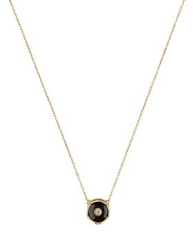 """Gucci - 18K Yellow Gold Le Marché Des Merveilles Onyx & Diamond Feline Head Pendant Necklace, 16"""""""