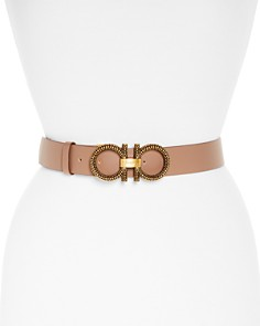 Salvatore Ferragamo Sculpted Double Gancini Leather Belt - Bloomingdale's_0