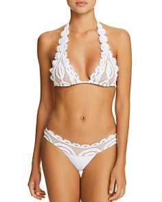 PilyQ - Lace Overlay Halter Bikini Top