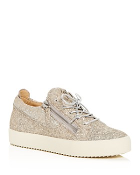 Giuseppe Zanotti - Women's Glitter Leather May London Lace Up Sneakers