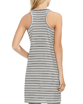 VINCE CAMUTO - Fringe Stripe Ribbed Tank Dress