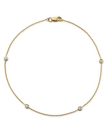 Bloomingdale's - Diamond Bezel Ankle Bracelet in 14 K t Yellow Gold, .20 ct. t.w. - 100% Exclusive
