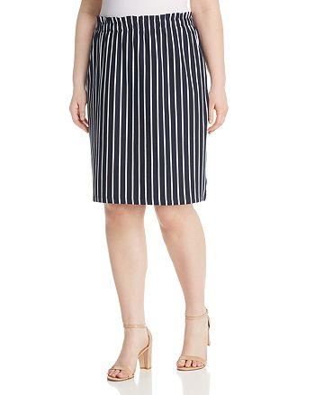 JUNAROSE Plus - Domias Striped Pull-On Pencil Skirt