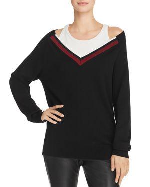 T BY ALEXANDER WANG Alexanderwang.T Black Varsity Trim V-Neck Sweater in Black/001