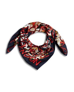 Graffiti Logo Square Silk Scarf, Multi