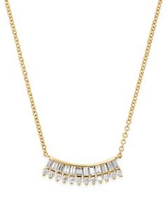 "KC Designs - 14K Yellow Gold Mosaic Baguette & Round Diamond Fan Necklace, 16"""