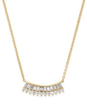 KC DESIGNS 14K YELLOW GOLD MOSAIC BAGUETTE & ROUND DIAMOND FAN NECKLACE, 16