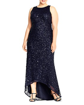 Adrianna Papell Plus - Sequined High/Low Gown