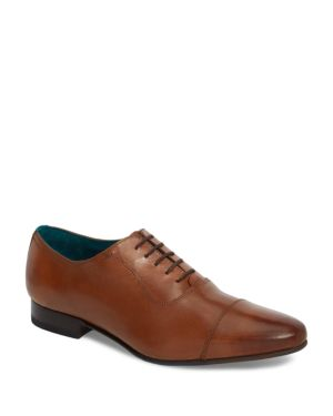 Men'S Karney Leather Cap Toe Oxfords, Tan Leather