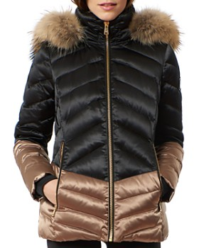 One Madison - Fox Fur Trim Color-Block Puffer Coat