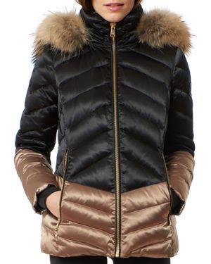 ONE MADISON Fox Fur Trim Color-Block Puffer Coat in Black/Bronze