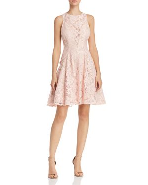 AVERY G LACE ILLUSION-FRONT FIT-AND-FLARE DRESS