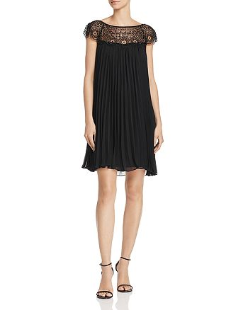 Avery G - Embellished Pleated-Chiffon Shift Dress