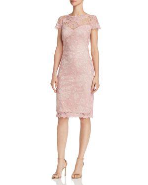 TADASHI PETITES Tadashi Shoji Petites Embroidered Lace Sheath Dress in Rose/Quartz