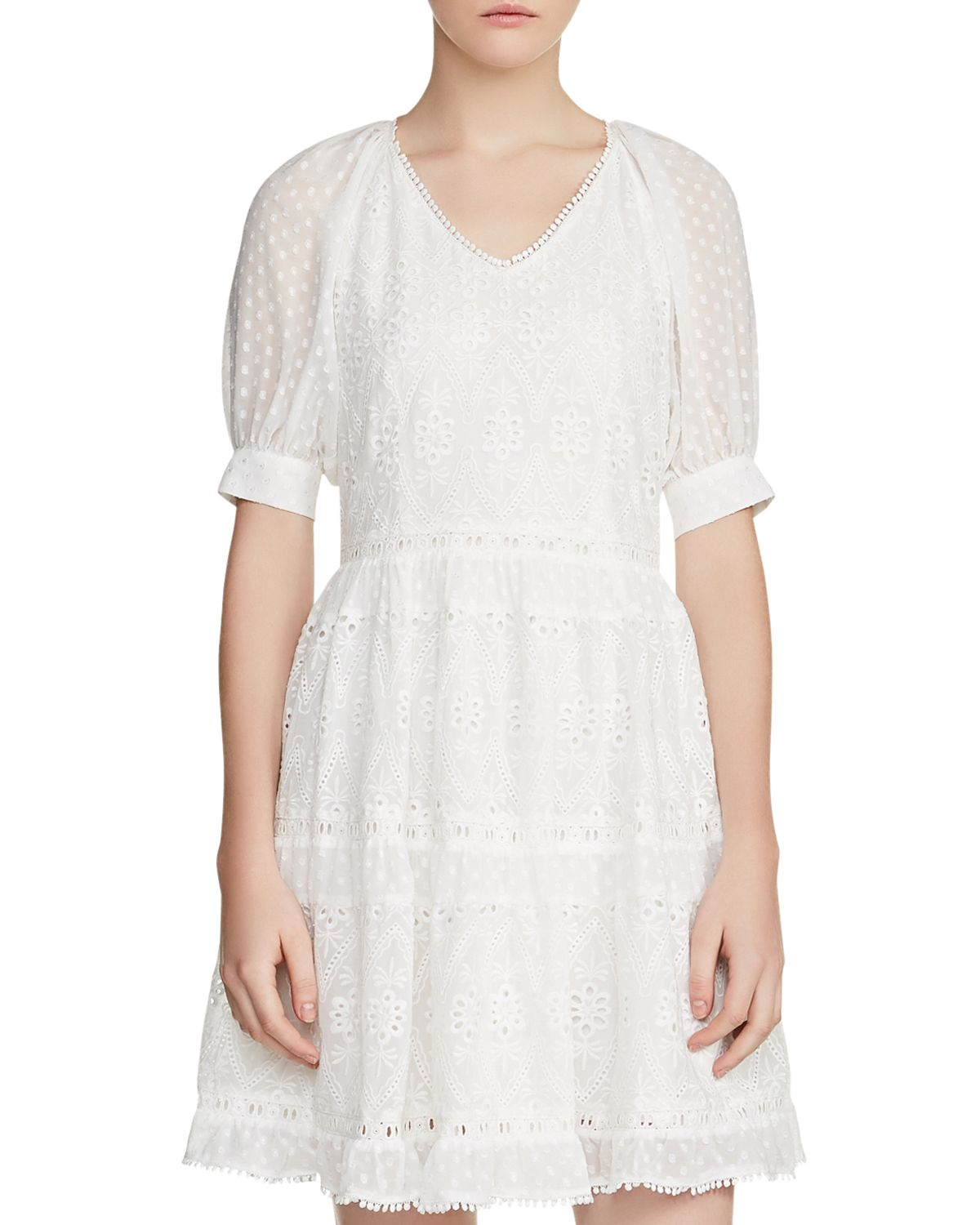Revery Broderie Anglaise & Swiss Dot Dress by Maje