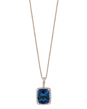 Bloomingdale's London Blue Topaz & Diamond Bezel Pendant Necklace in 14K Rose Gold, 18 - 100% Exclusive
