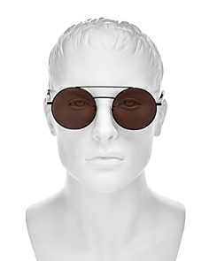 Saint Laurent - Men's Brow Bar Round Sunglasses, 56mm