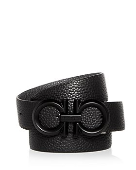 Salvatore Ferragamo - Men's Black Buckle Reversible Leather Belt