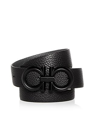 Salvatore Ferragamo Men's Black Buckle Reversible Leather Belt