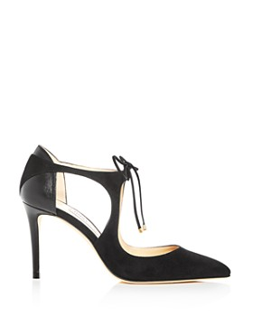 Jimmy Choo - Women's Vanessa 85 Leather & Suede Pointed Toe Pumps