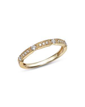 Bloomingdale's Alternating Diamond & Milgrain Band in 14K Yellow Gold, 0.25 ct. t.w. - 100% Exclusiv