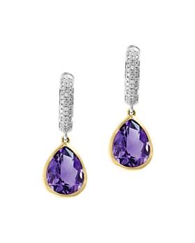 5a5246667d7 Bloomingdale s - Amethyst   Diamond Drop Earrings in 14K Yellow   White Gold  - 100% ...