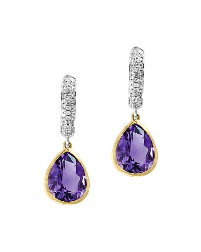 Bloomingdale's - Amethyst & Diamond Drop Earrings in 14K Yellow & White Gold - 100% Exclusive