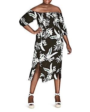 City Chic Plus Oahu Floral Off-the-Shoulder Midi Dress