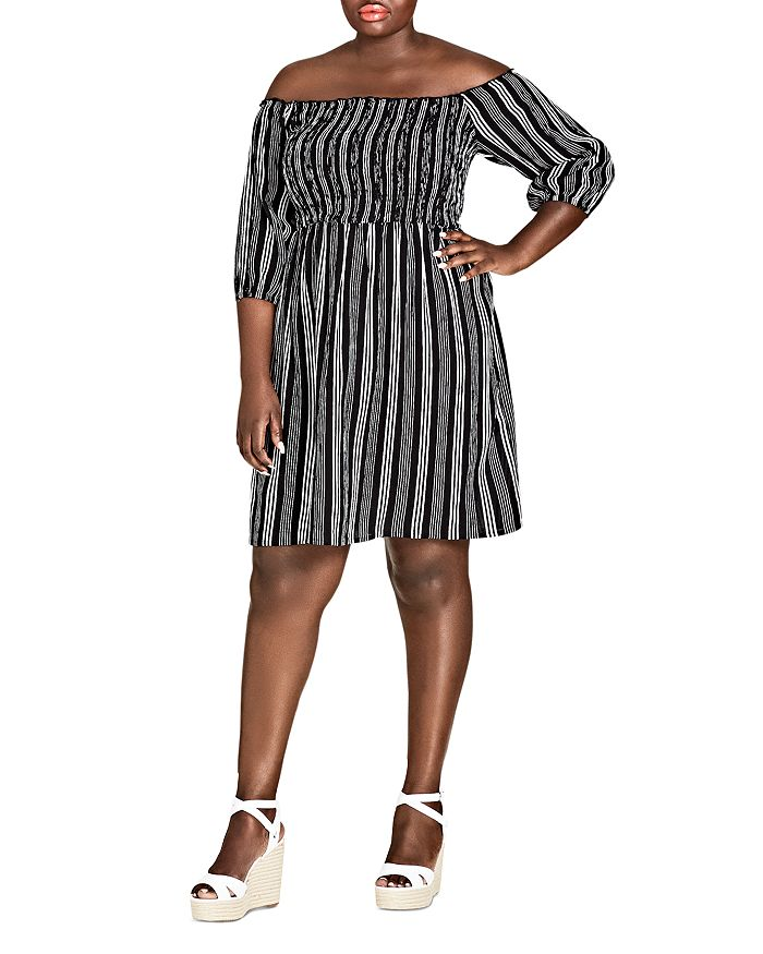 City Chic Plus - Stripe Play Off-the-Shoulder Dress
