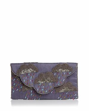 FROM ST XAVIER Cirrus Cloud Beaded Convertible Clutch in Purple/Silver