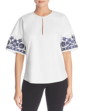 Tory Burch Amy Embroidered Sleeve Top