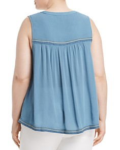 Lucky Brand Plus - Embroidered Button-Front Tank