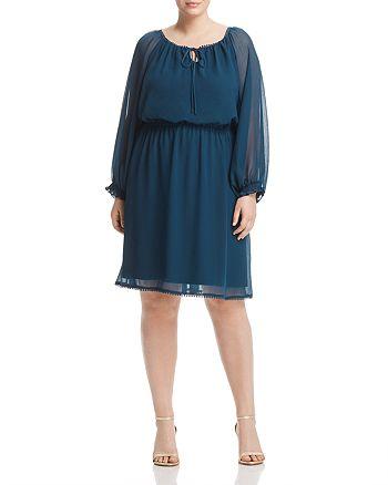 Adrianna Papell Plus - Blouson Long Sleeve Dress