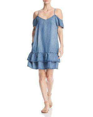 VELVET HEART FELICIA CHAMBRAY COLD-SHOULDER DRESS