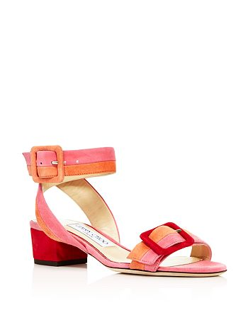 Jimmy Choo - Women's Dacha 35 Suede Color-Block Block Heel Sandals