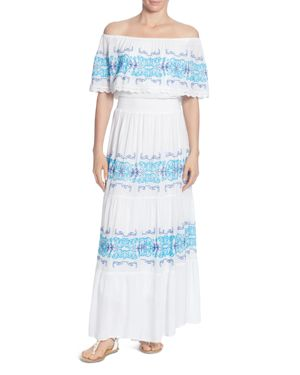 CATHERINE CATHERINE MALANDRINO CHARISE EMBROIDERED STRIPE OFF-THE-SHOULDER DRESS